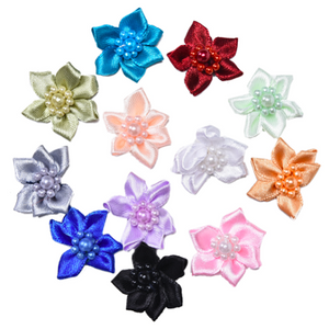 Assorted Mini Ribbon Roses With Pearls - 25pcs
