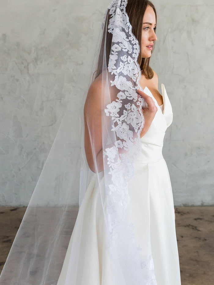 ZABEL CATHEDRAL VEIL - LACE EDGING
