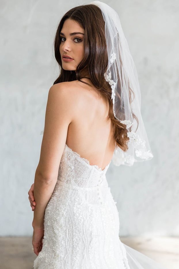 MIKAELA ELBOW/CATHEDRAL VEIL - WITH LACE EDGING