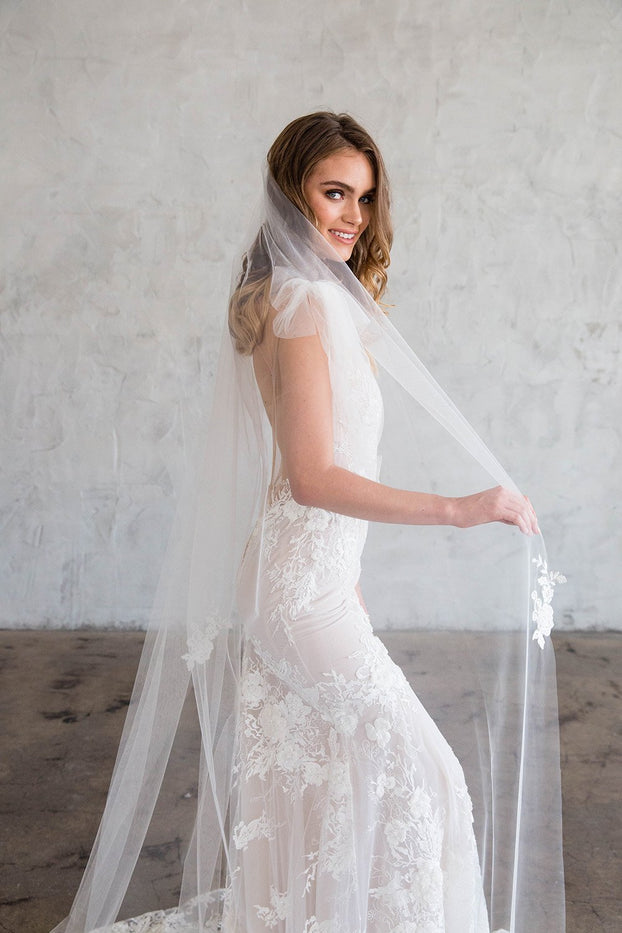CLARICE CATHEDRAL VEIL - SCATTERED LACE EDGE