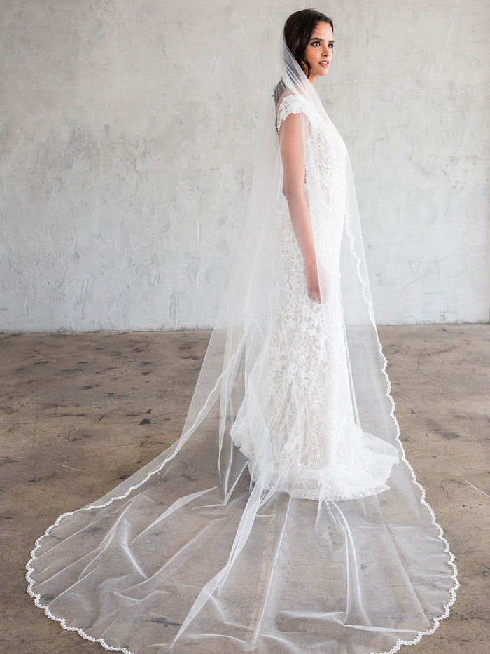 CYRILLE CATHEDRAL VEIL - SCALLOPED LACE 20