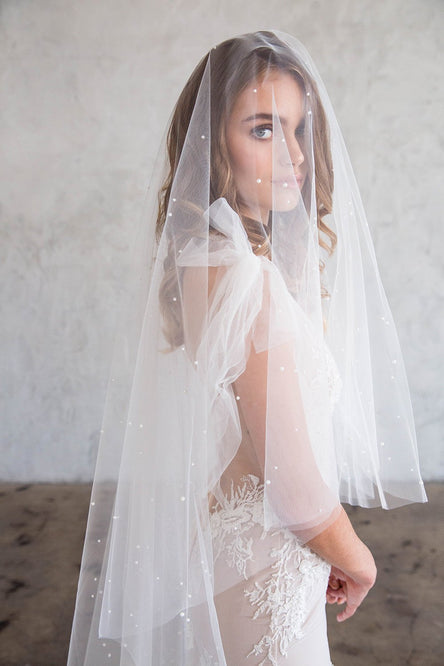 DARCY CHAPEL DOUBLE VEIL - WITH SCATTERED PEARLS