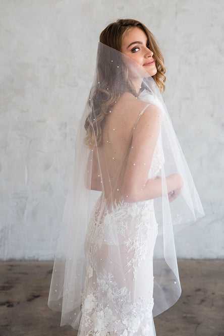 THEOLA FINGERTIP VEIL - SCATTERED CRYSTALS & PEARLS