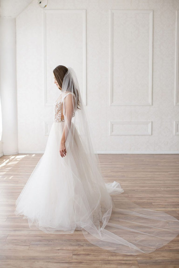 CHRISTINA CATHEDRAL VEIL- SIMPLE CUT EDGE