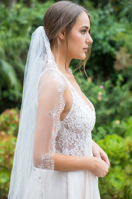 GRECIA CATHEDRAL VEIL - SILVER THREAD EDGING