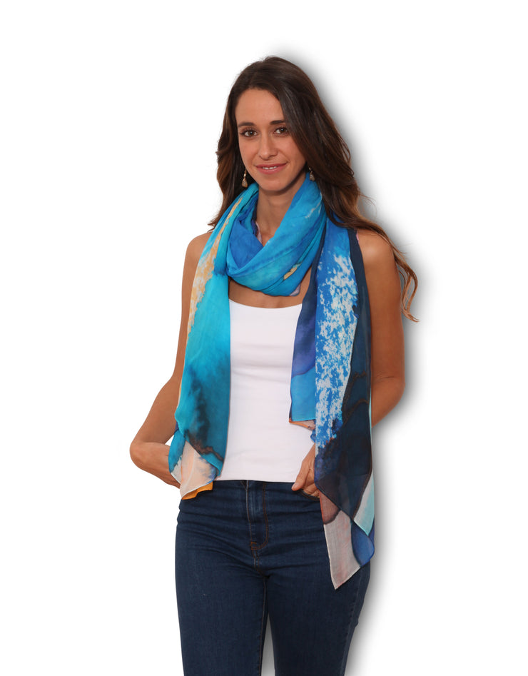 Blue scarf designed by the artist Nina Zulian