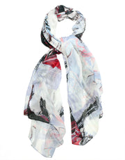 White black and red scarf designed by the artist Oana Soare