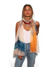 Orange, Yellow and blue silk scarf