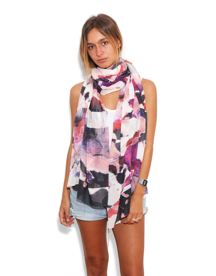 White, pink and black scarf designed by Oana Soare