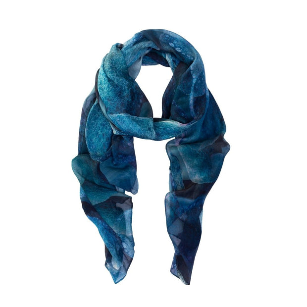 Blue scarf designed by artist in Australia