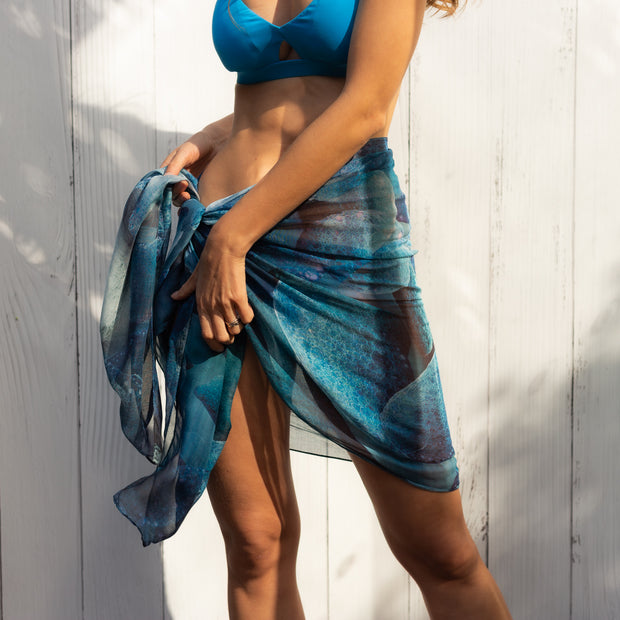 blue woman sarong for the beach