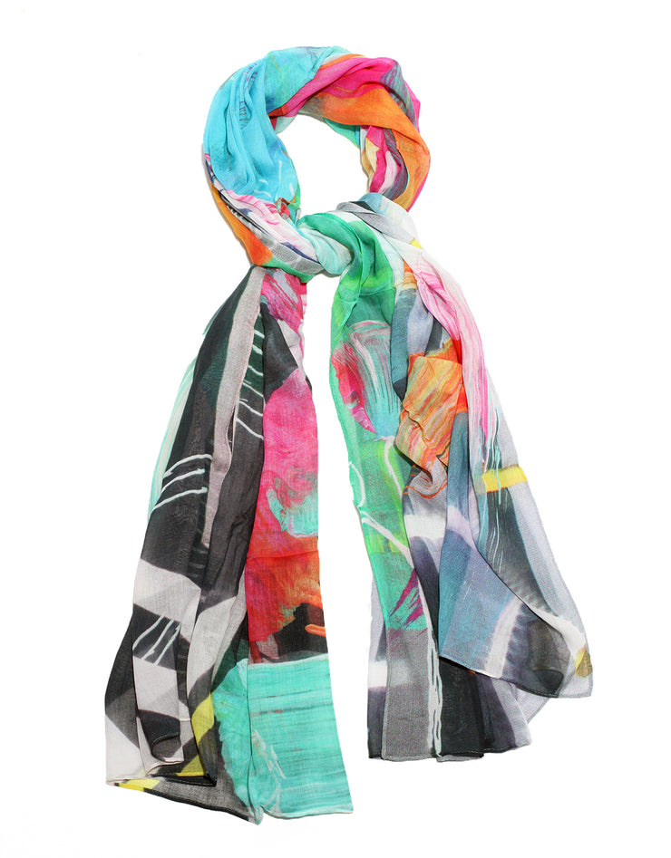 Colorful scarf designed by artist Aedon Lars