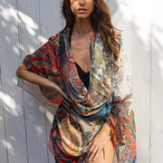 scarf designed by artist can be wear as sarong or shawl