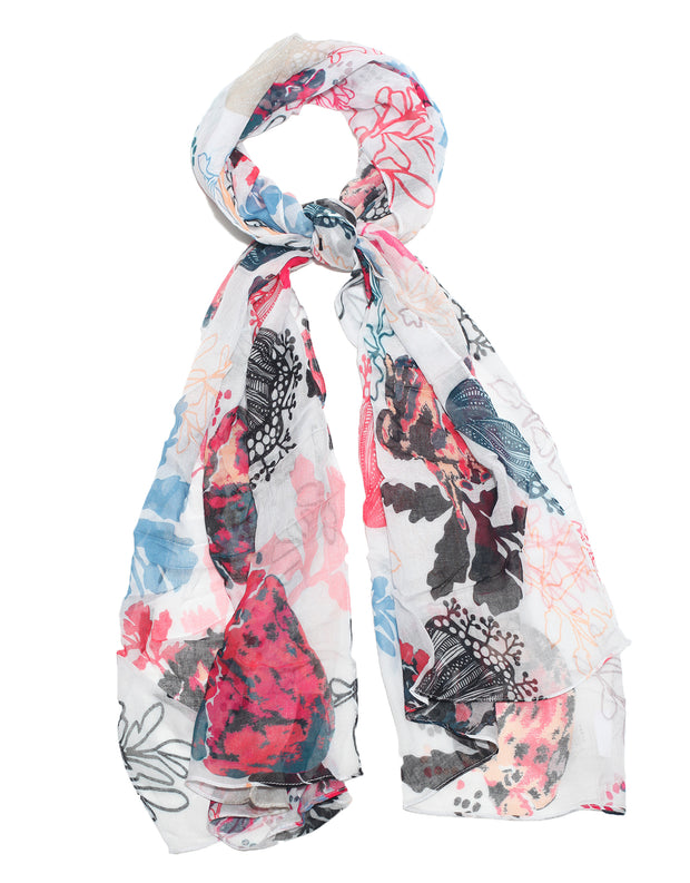 white and pink scarf designed by Lu Haddad