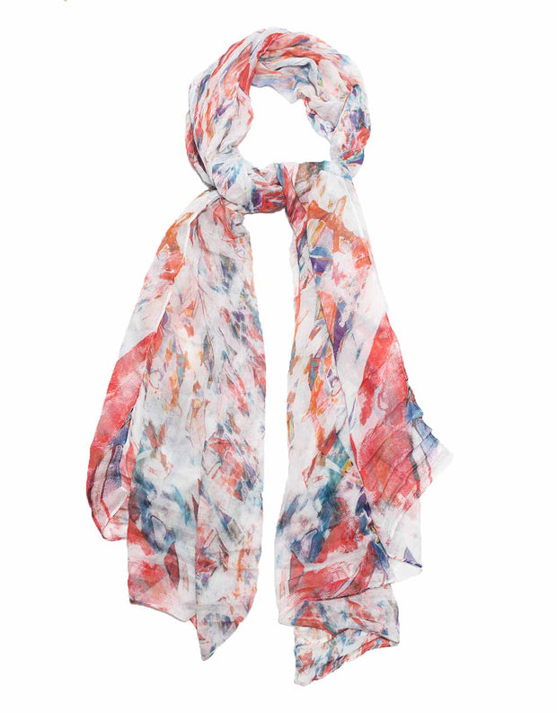 white, red and blue scarf designed by artist Oana Soare