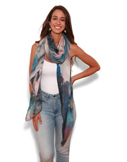 Scarf designed by artist, can be worn as a sarong, scarf or head scarf