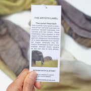hang tag scarf with the story of the artwork