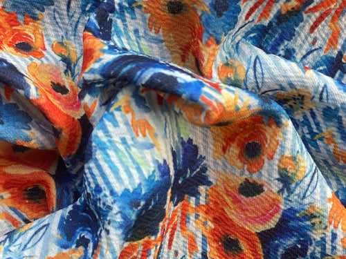 Navy and Rust Floral on Stripes (Liverpool Fabric - RTS) - AydensRainBOW
