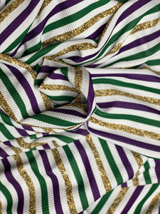 Mardi Gras Stripes (Bullet Fabric - RTS)