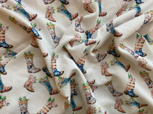 Cowboy Boots Full of Flowers (Liverpool Fabric - RTS) - AydensRainBOW