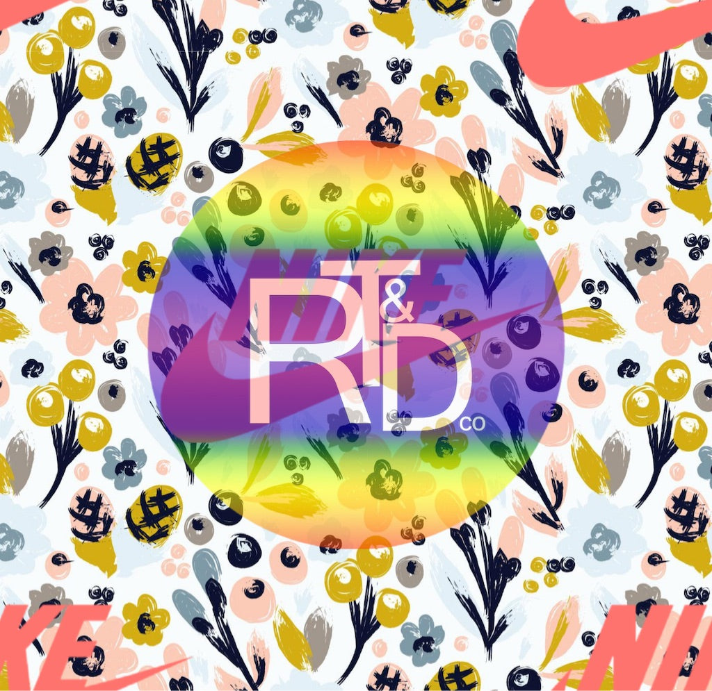 Coral Nike on Watercolor Floral (Preorder Fabric) - AydensRainBOW
