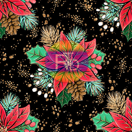 Poinsettia - Black BG (Preorder Fabric)