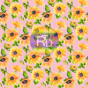 Sunflowers - Pink BG (Preorder Fabric)