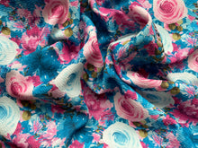 Load image into Gallery viewer, Blue Spring Floral - Teal/Pink  (Liverpool Fabric - RTS)