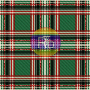 Christmas Plaid Red Glitter - Green BG (Preorder Fabric)