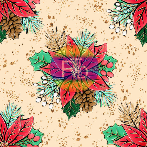 Poinsettia - Cream BG (Preorder Fabric)