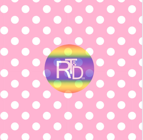 Pink w/White Polka Dots (Preorder Fabric) - AydensRainBOW