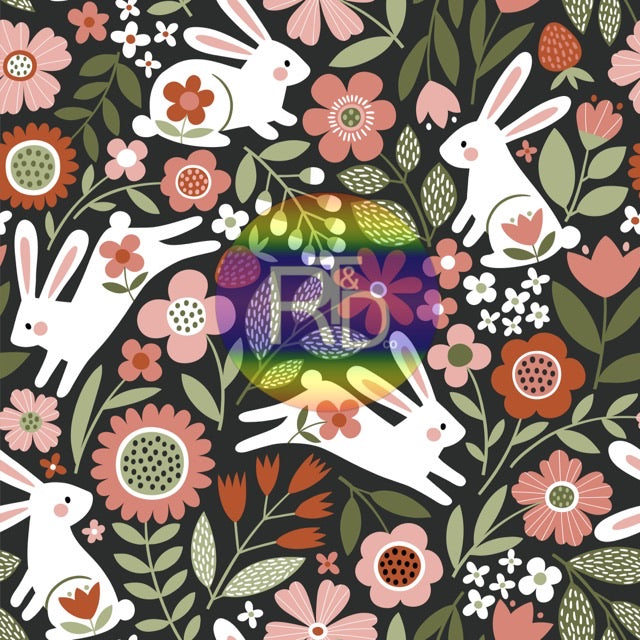 Floral Rabbits (Preorder Fabric) - AydensRainBOW