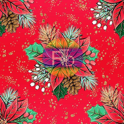 Poinsettia - Red BG (Preorder Fabric)