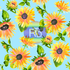 Sunflowers - Teal BG (Preorder Fabric)
