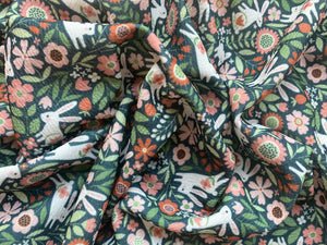 Floral Rabbits (Liverpool Fabric - RTS)