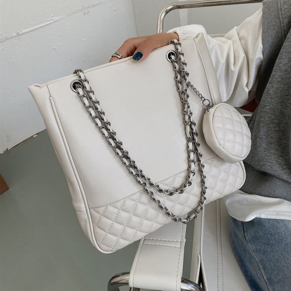 Chained Leather Cushion Shoulder Bag