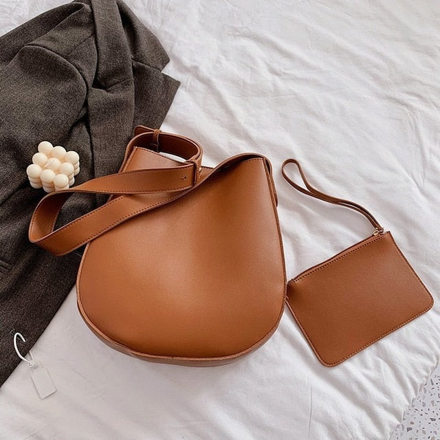 Vintage Leather Bucket Shoulder Bag
