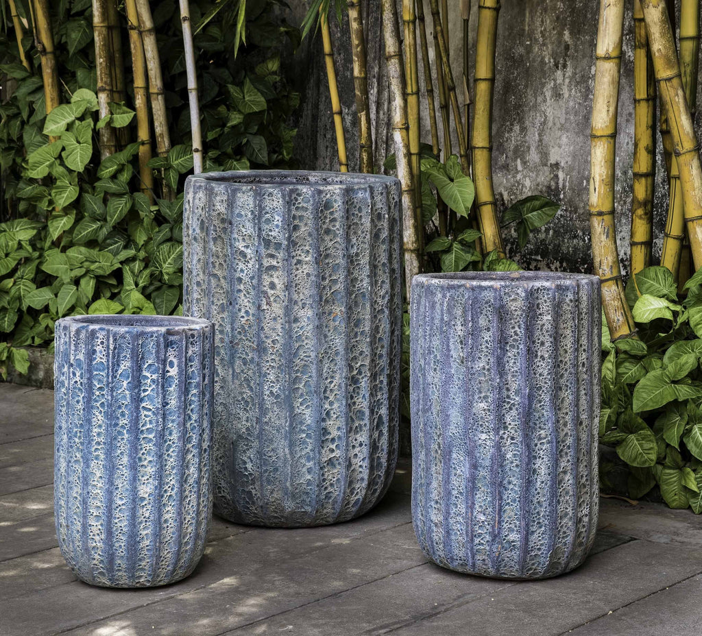 Campania Maris Tall Planter, Aqua Blue Coral