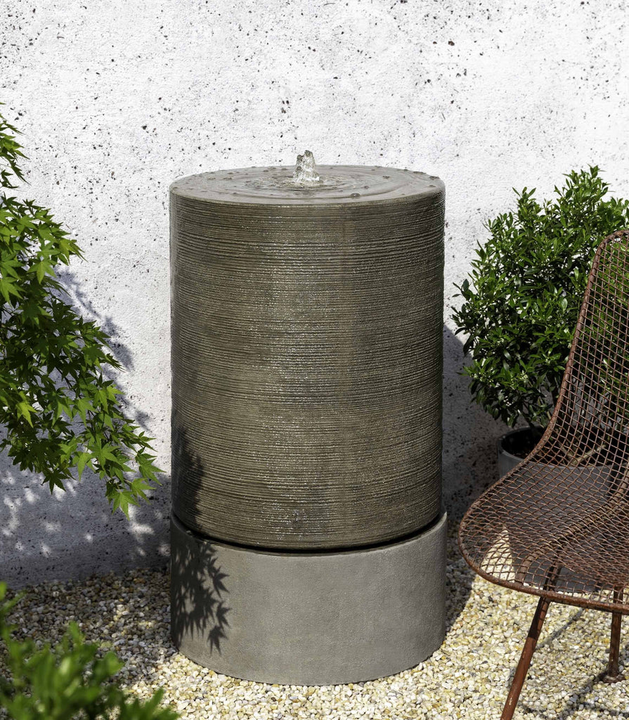 Campania Large Ribbed Cylinder Fountain, Alpine Stone