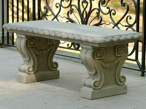 Photo of Campania Longwood Main Fountain Garden Bench - Marquis Gardens