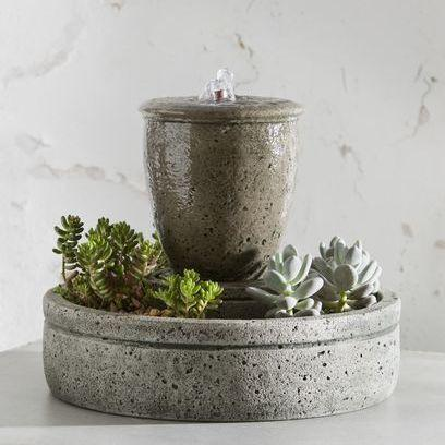 Photo of Campania M-Series Rustic Spa Fountain with Planter - Marquis Gardens