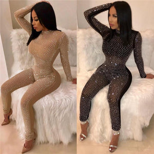a8c243c7ea25ef Mesh Hot Drilling Sexy Bodysuit Women Rompers Long Sleeve High Neck  Transparent Bodycon Jumpsuit Casual Tops Party Overalls