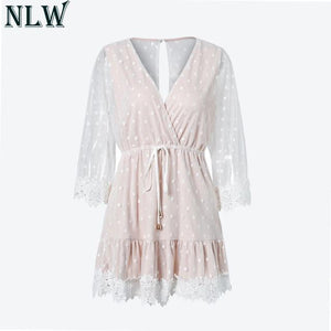 a79aedfb5ce0 NLW White Lace Dress Dot V Neck Mini Dress 2018 Summer Women Sexy Backless  Flare Sleeve