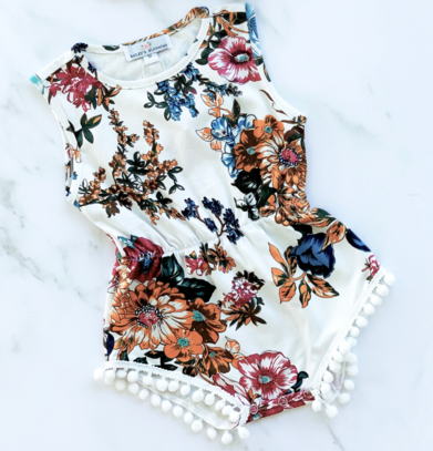 Antique Floral Pom Pom Romper