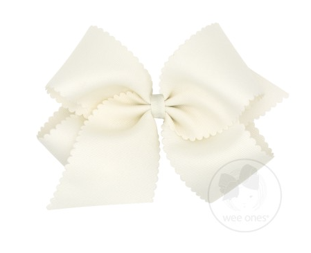 Antique White Scallop Bow