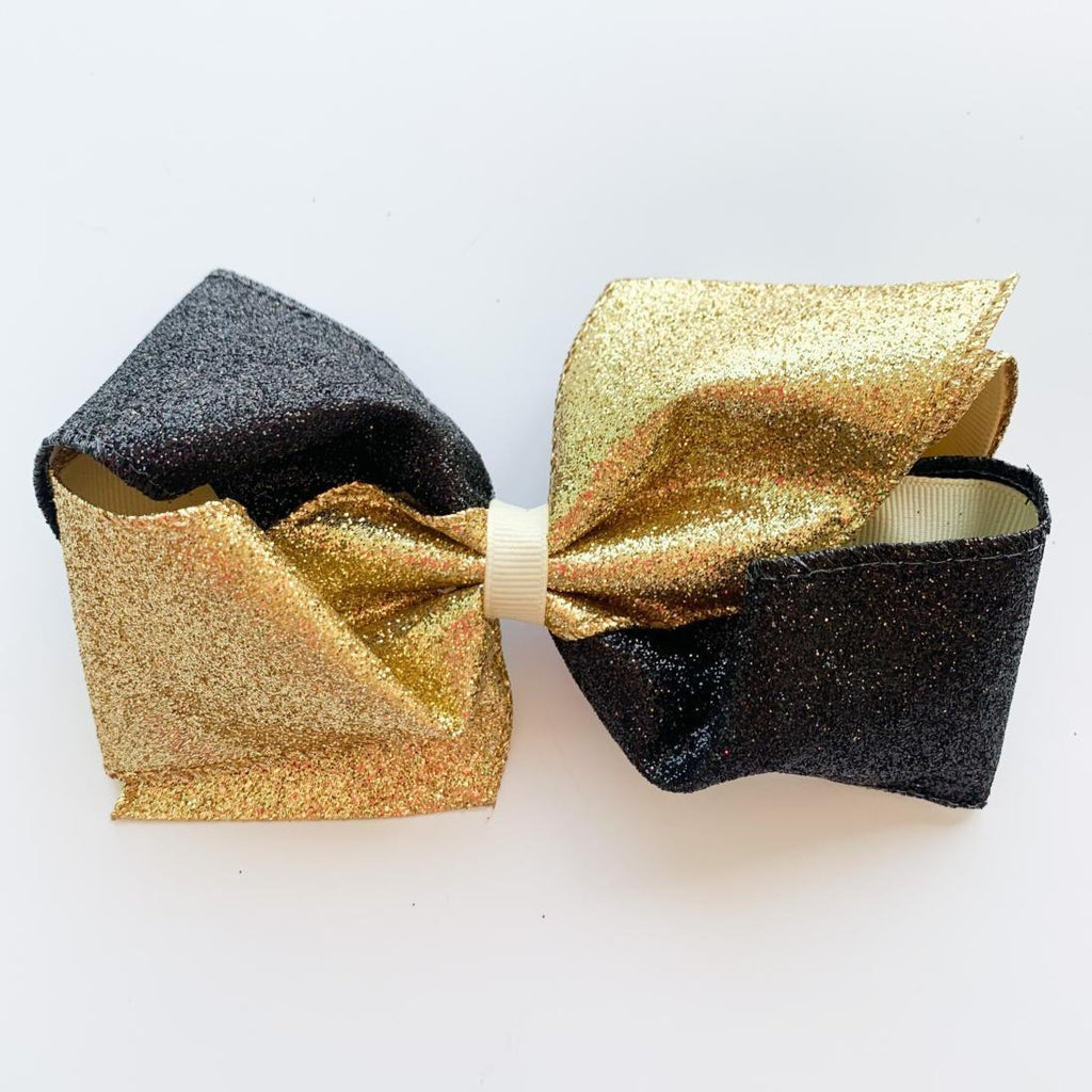 Black & Gold Glitter Bow