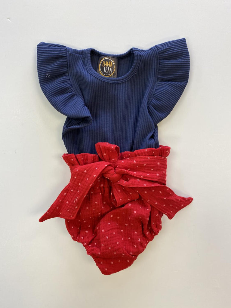 Blue & Red Star Bloomer Set