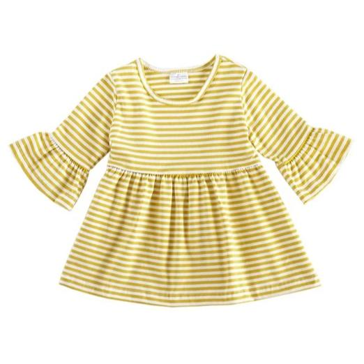 Mustard Stripe Bell Sleeve Dress