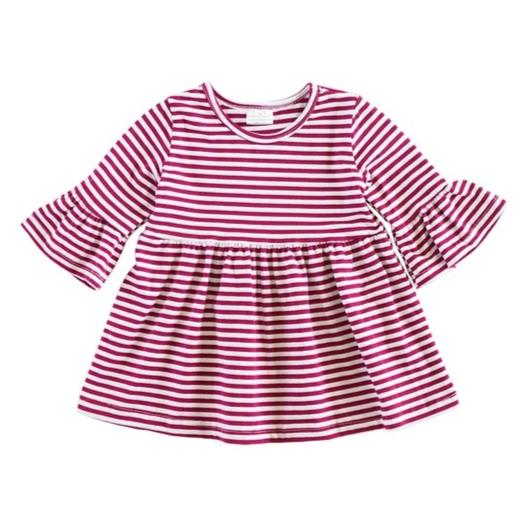 Wine Stripe Bell Sleeve Dress