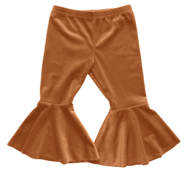 Camel Velour Bell Bottoms